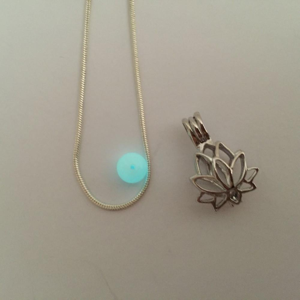 Lotus Glowing Bead Pendant Necklace