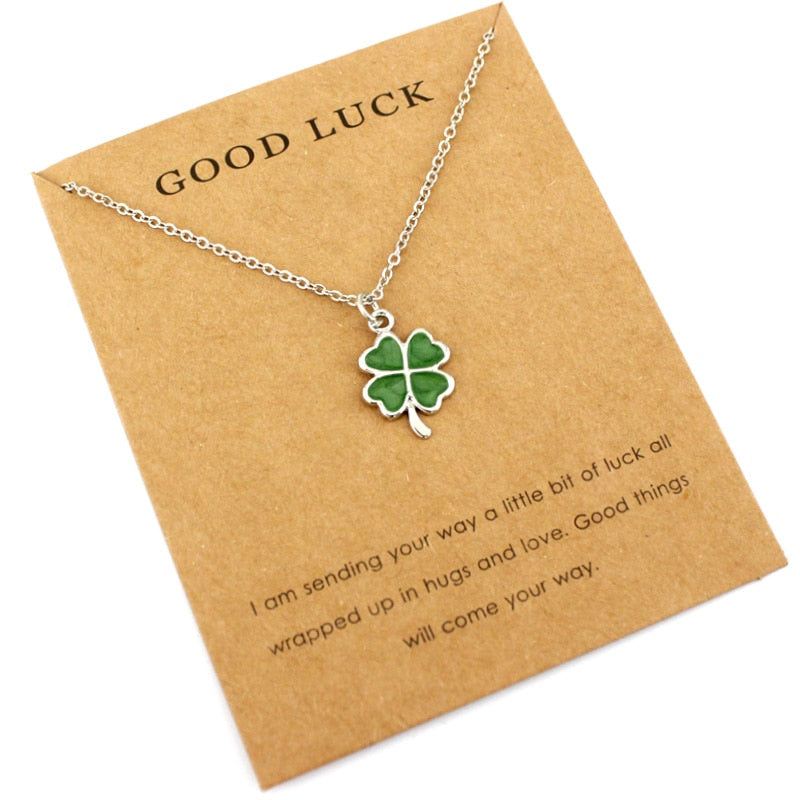 Lucky Four Leaf Clover Necklace with Card
