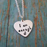 Stainless Steel I am enough Pendant Awareness Recovery Symbol Handstamped Leaf Mental Health Necklace Women Girl YLQ0698
