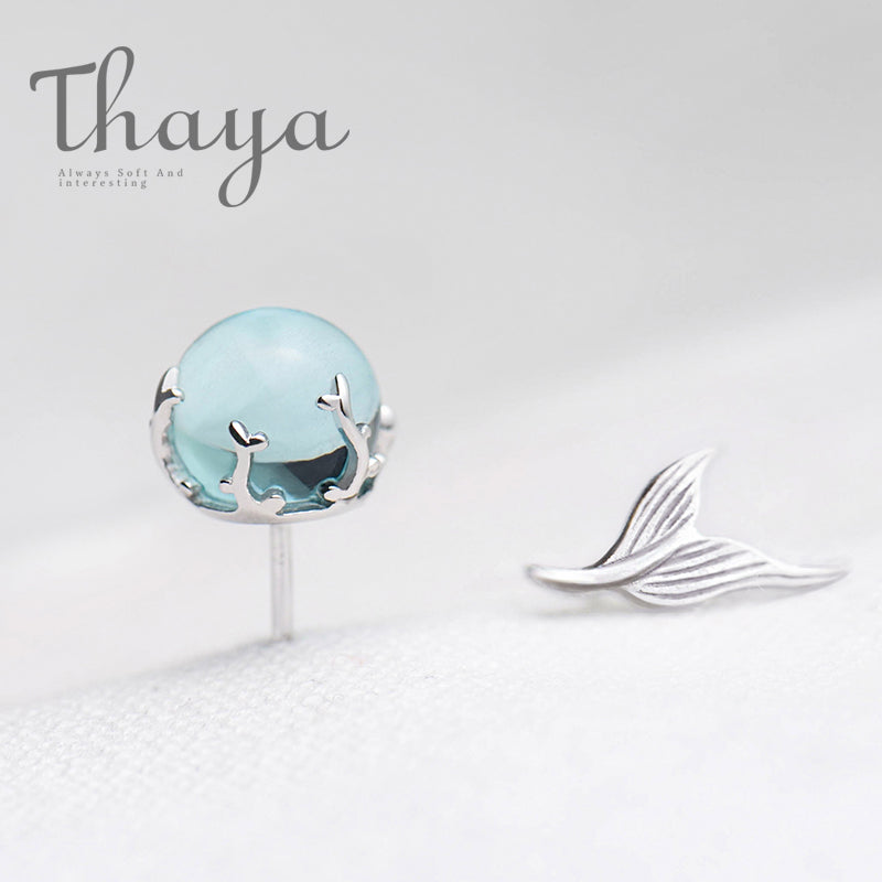 Silver Mermaid Bubble Stud Earrings