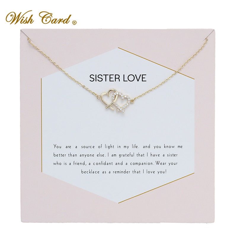 Linked hearts sister love necklace