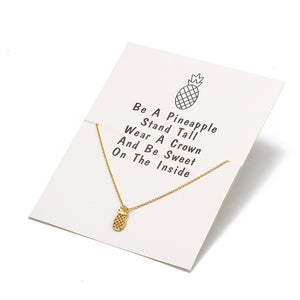 Wish Card Pineapple Pendant Necklace