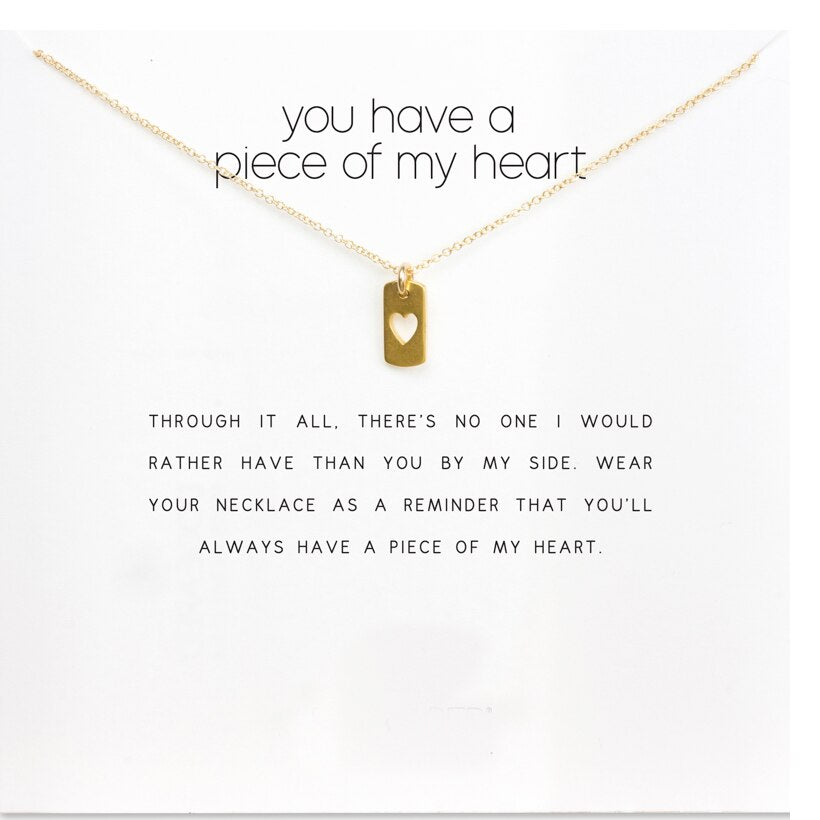 You Have A Piece Of My Heart, Heart Tag Necklace Gold Dipped Necklace Clavicle Chain Statement Necklace Women Jewelery D091