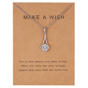 Make a Wish Dolphin and Natural Stone Pendant Necklace
