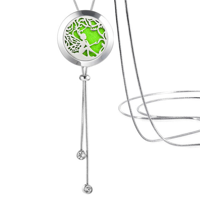 Stainless Steel Adjustable Essential Oil Necklace Diffuser Locket