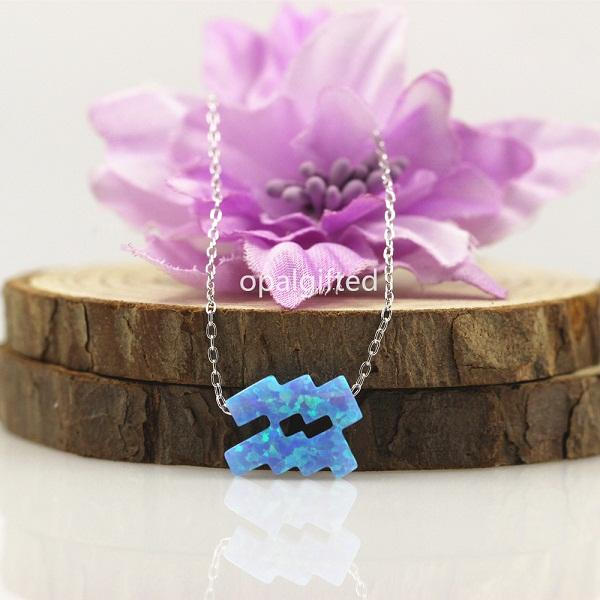 Light Blue Opal Zodiac Necklace