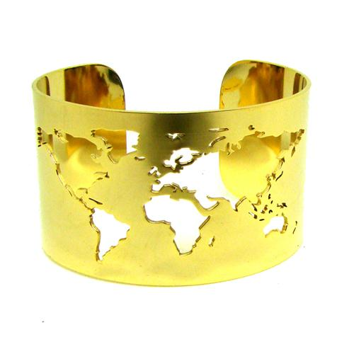 World Map Cut-out Cuff Bracelet