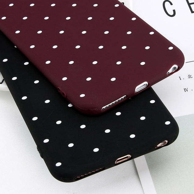 Wine Red Ploka Dots Phone Case For iPhone 6 6s Plus XS  XR X 8 7 Plus 5 S SE - 1snx