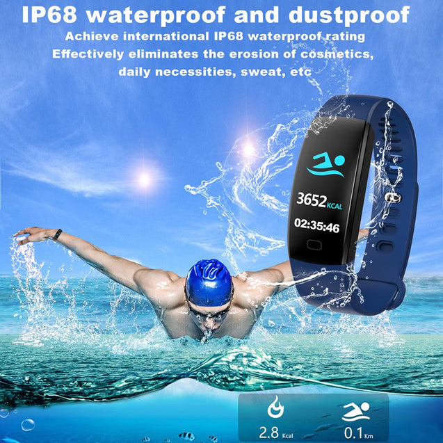 Smart Fitness Bracelet Men Color Screen IP68 Waterproof Blood Pressure Heart Rate Monitor - 1snx
