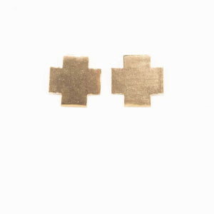 Brass Cross Post Earrings