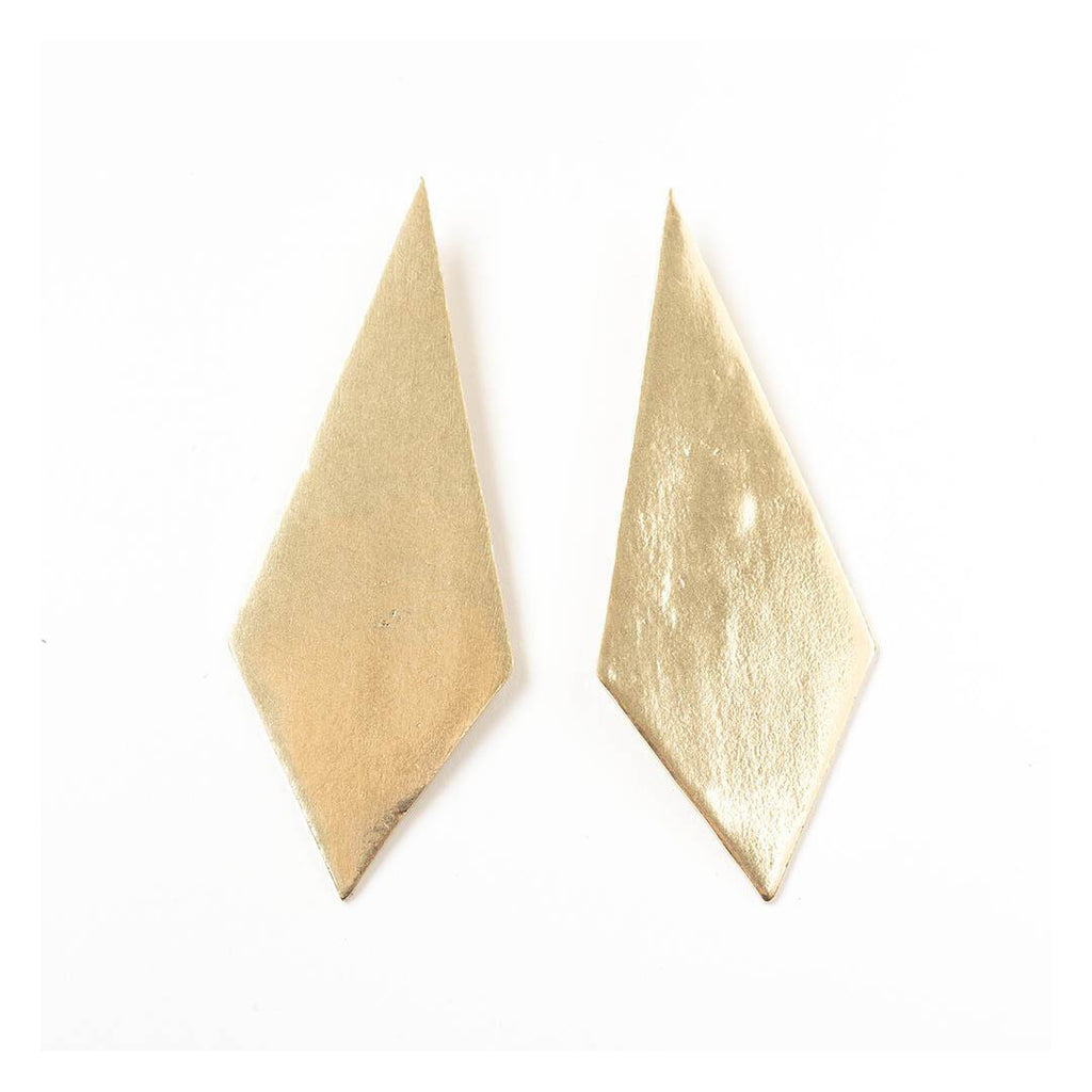 Brass Diamond Post Earrings