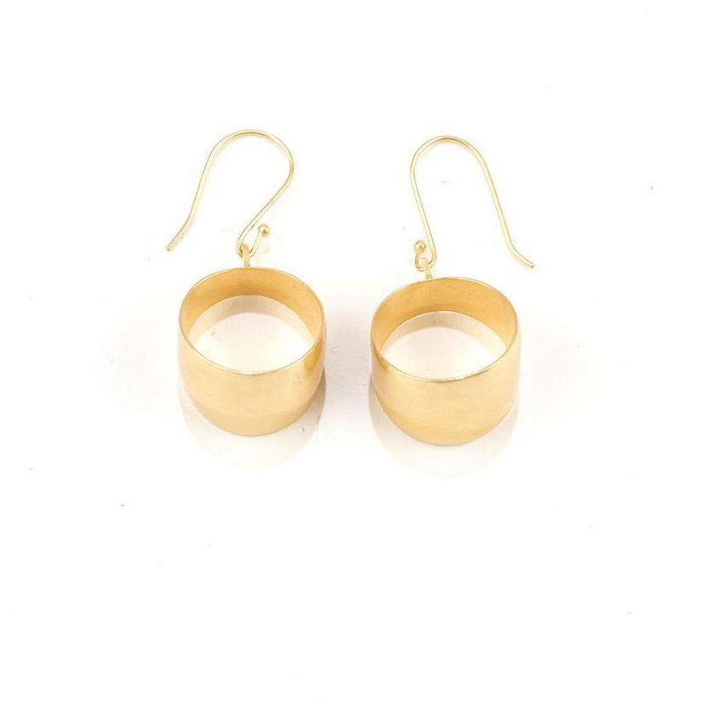 Brass Hoop Drop Earrings