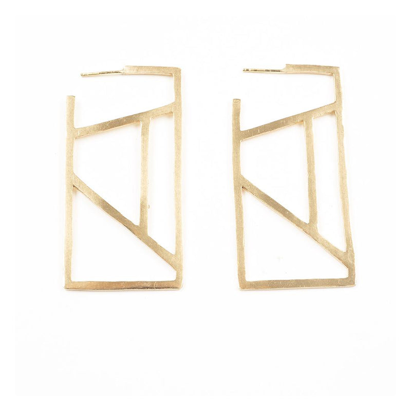 Brass Stained Glass Rectangle Hoops