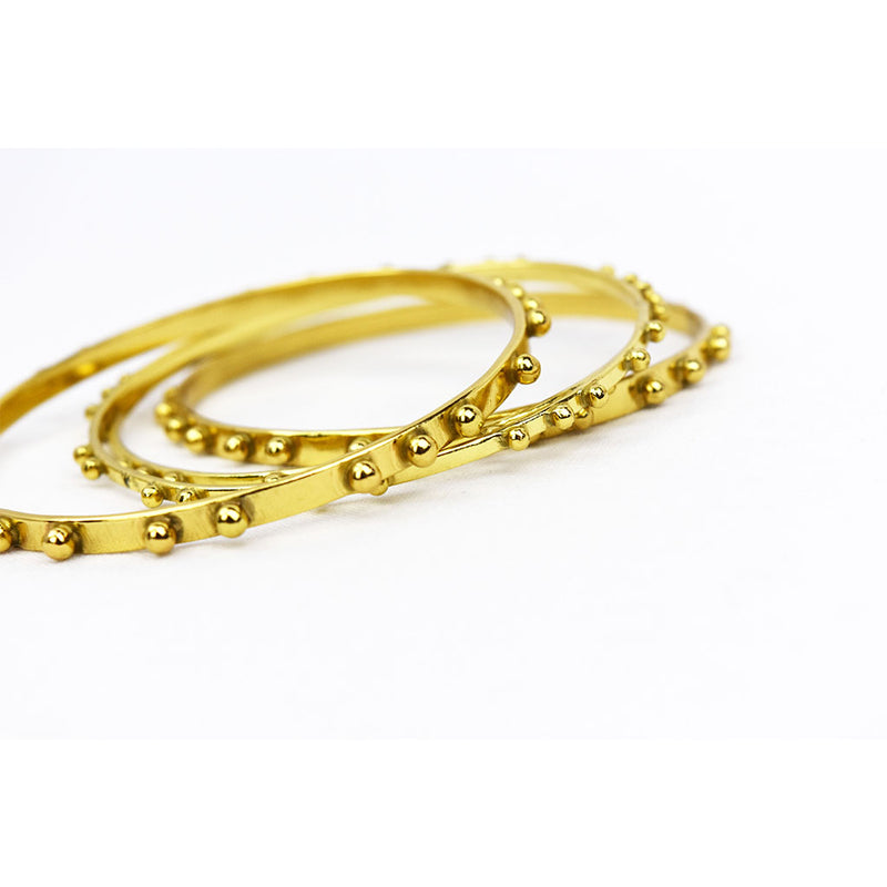 Brass Dot Bangle Set
