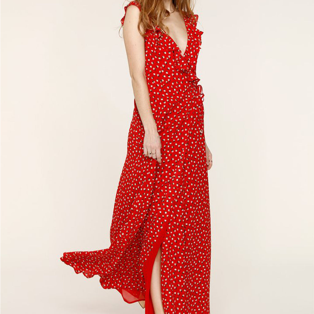 Cherry Print Wrap Dress