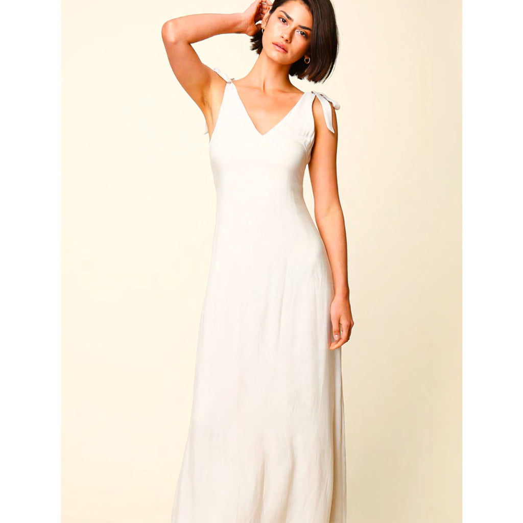 Cream Shoulder Tie Maxi