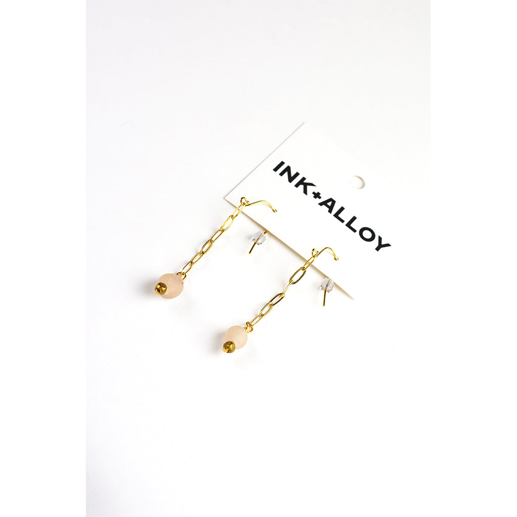 Glass Bead Drop Earrings