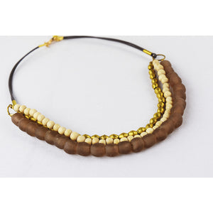 Glass Brass Wood Necklace