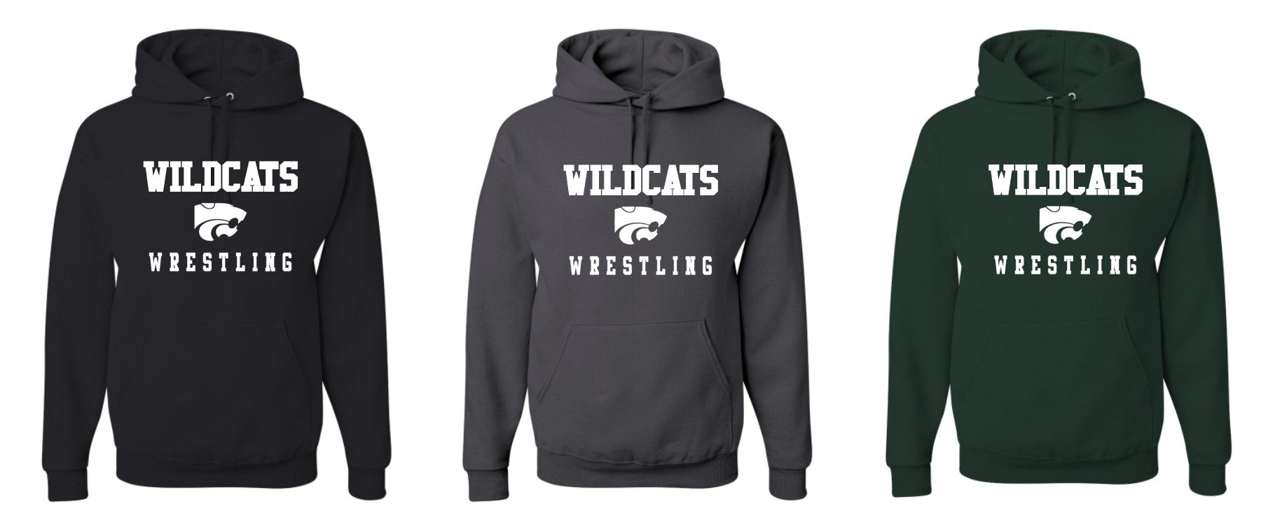 Wildcats Wrestling Traditional Hoodies- BLACK or DARK GREEN