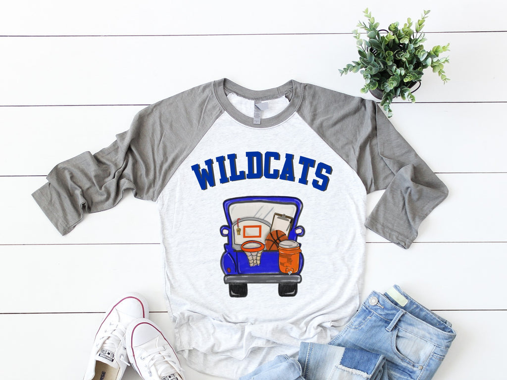 Wildcats Basketball Truck Raglan