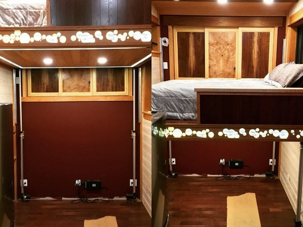 A tiny house bed lift with linear actuators