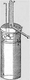 Photo of first design of a steam-powered cylinder