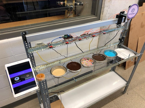 Robotic arm with actuators and an automated controls system for decorating high-quality