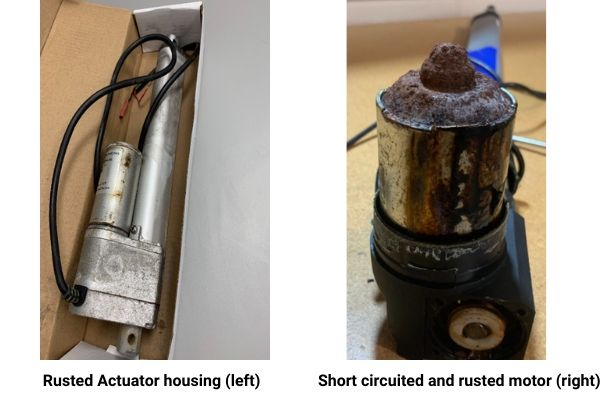The image rusted actuator housing and short-circuited and rusted motor