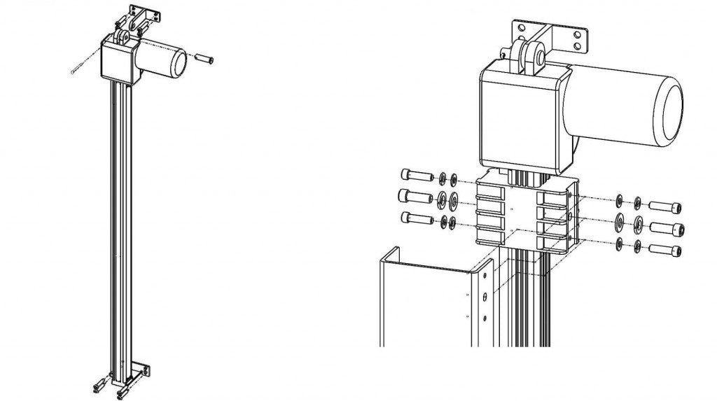 Drop down TV lift support column mounting