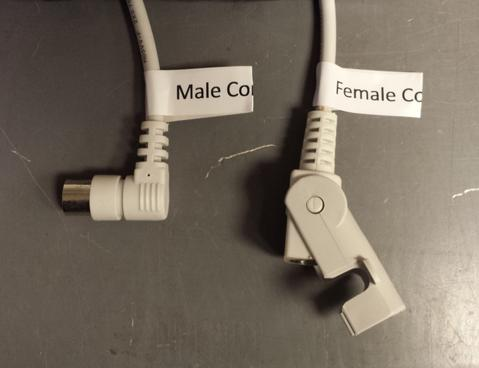 "Photo of wires with label ""Male Connector"" while the other is ""Female Connector"""