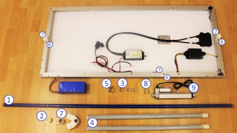 Photo of mini-linear actuator and components for build portable solar tracker
