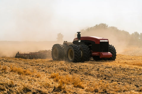 Photo of an autonomous tractor on the field