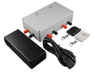 Photo of a DC control box and an AC power adapter on white background