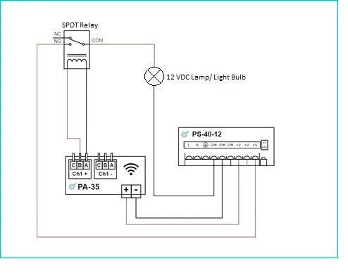 Wiring diagram example of PA-35 controlling a 12 VDC lamp/ Light Bulb