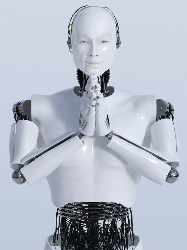Photo of robot doing a namaste greeting