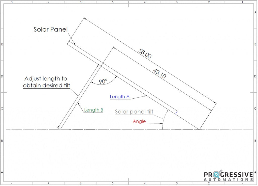 Drawing from the side perspective solar panel