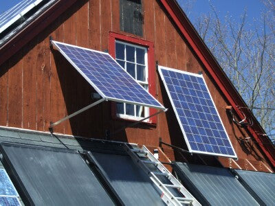 Solar panel  tracking system close up