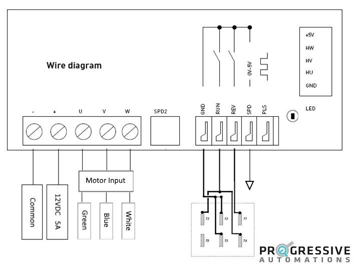 Photo of a basic wiring schematic the PA-14 mini linear actuator in the Brushless DC option
