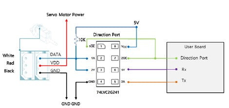 TTL/PWM communication wiring diagram for half-duplex