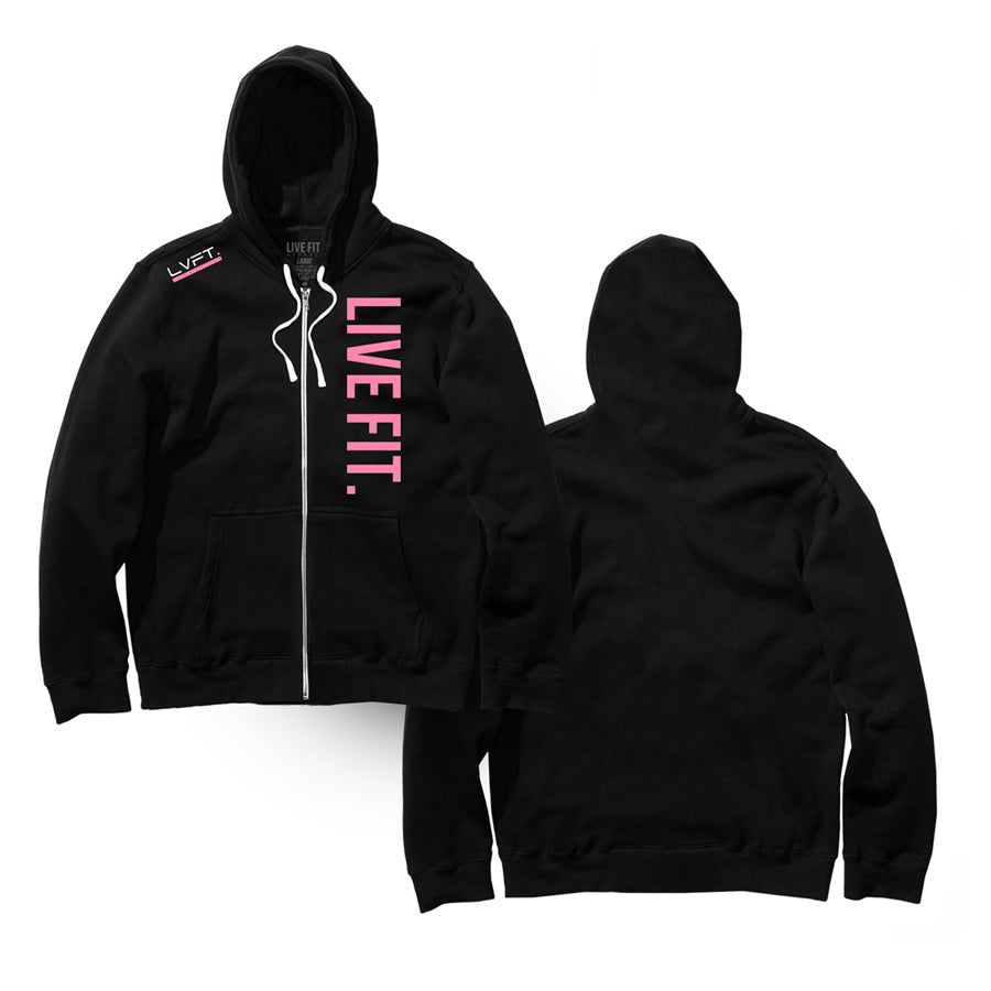 Live Fit Zip Up - Black/Pink