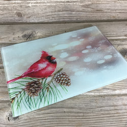 Winter Cardinal Glass Cutting Board