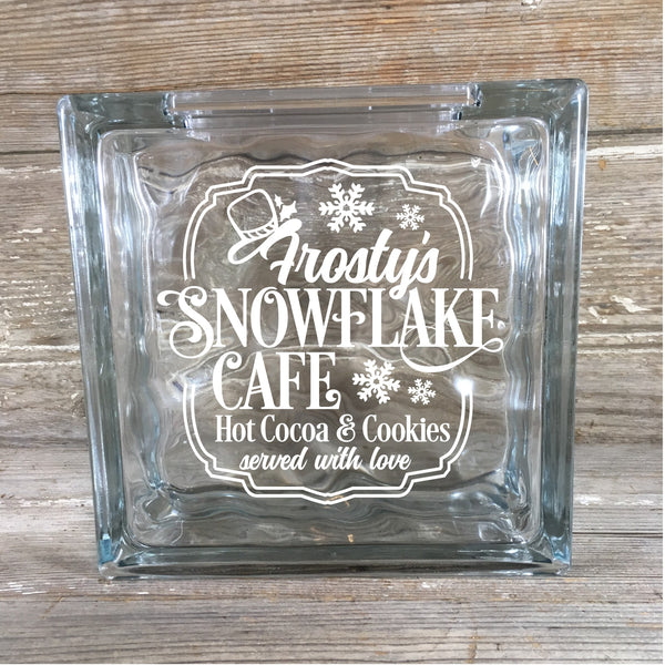 Snowflake Cafe Glass Block Vinyl Decal