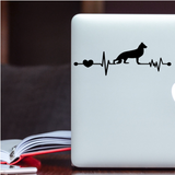 German Shepard Ekg Vinyl Decal