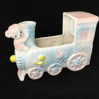 Vintage Relpo Ceramic Train Planter Music Box Made in Japan Nursery Decor