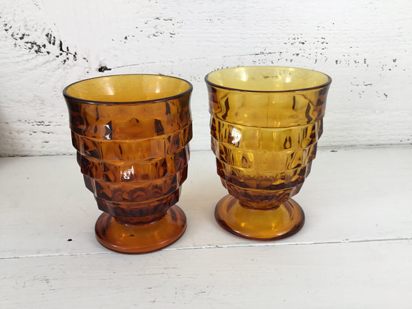 Set Of 2 Vintage Cubist Amber Footed Tumblers