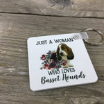 Just a Woman Who Loves Basset Hounds Key Chain