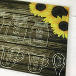 Sunflower Measurement Conversion Glass Cutting Board