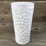 Milk Glass Pebble Leaf Fruit Pattern Vase