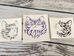 Trio of Cat Head Vinyl Decals