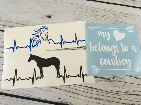 Two Horse EKG and Cowboy Decal